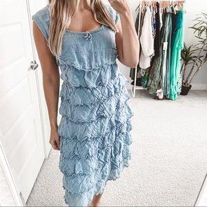 Grizas Tiered Ruffle Linen Midi Dress Blue